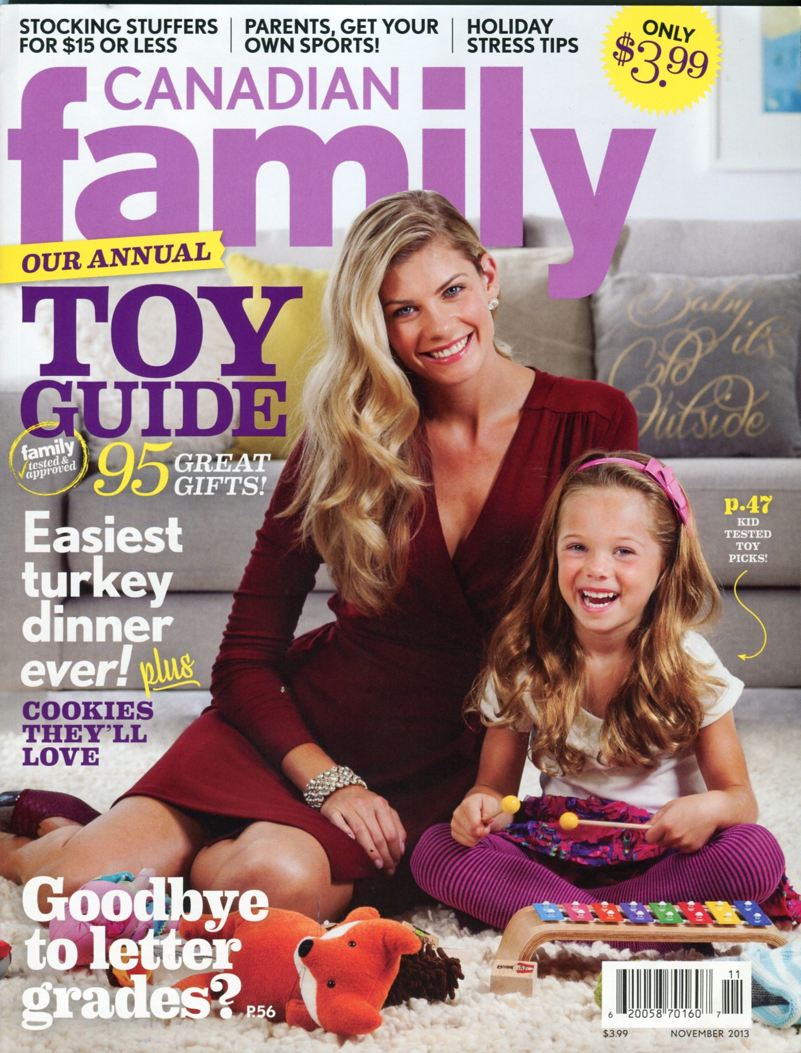The cover of Novembers Canadian Family Magazine.